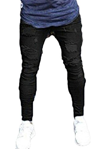 GAGA Men's Distressed Destroyed Holes Jeans Zipper Biker Skinny Ripped Tousers Black XS by GAGA-men clothes