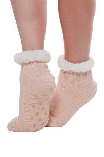 Women's Sparkly Faux Fur Holiday Booties with Grippers -Pink (I Feel Good Button compare prices)