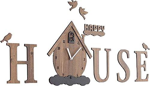 モーロー(Moro) デザイン小物 HAPPY HOUSE/ブラウン ウォールクロック B07DDDG5TSHAPPY HOUSE/ブラウン