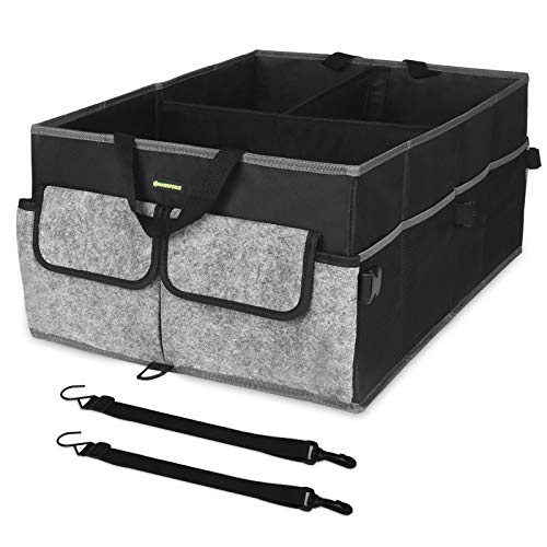 HAWKFORCE Cargo Organizer for Trunk, Heavy Duty Design with Folding Interlayer Compartments,Non Slip Bottom,Securing Straps,Multi Portable Trunk Organizer for any In-vehicle Organization Needs(Black)