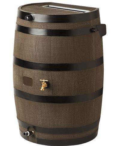 Gardener's Supply Company Flat-Back Rain Barrel, - Barrel Rain Woodgrain