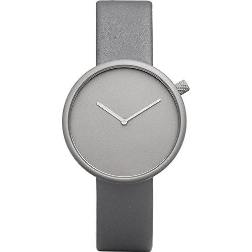 Bulbul Ore 04 Watch, Analog Display Swiss Quartz Watch, Gray Italian Leather Band, Round 39mm Case