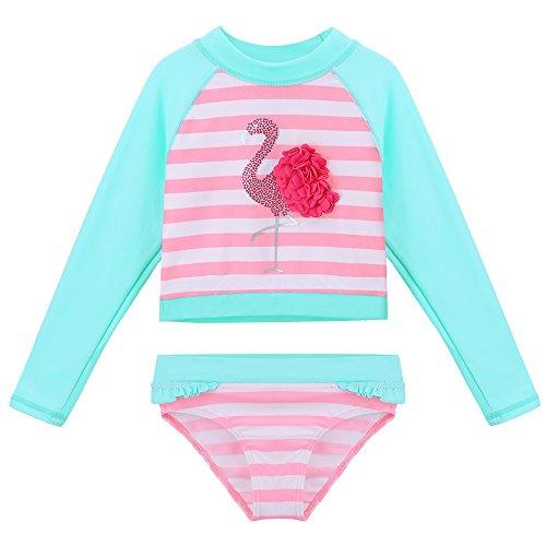 TFJH E Girls Crop Top Bikini Set Swimsuit 50+ UV Long Sleeve Beach Suit Swan Cyan Stripe 4A
