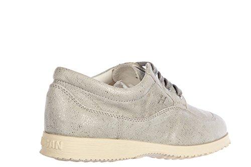 Hogan clásico zapatos de cordones mujer en piel nuevo derby gris