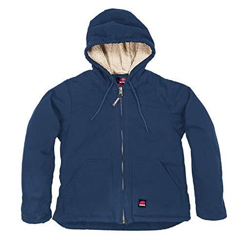 (Berne Ladies WHJ43 Washed Hooded Coat - Fine Sherpa Lined, Deep Ocean - Medium/Regular)