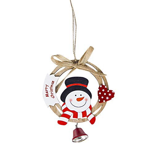 ✿ZTY66✿ Cute Santa Clause Bow Bell Christmas Tree Ornament Decoration Wooden Snowman Elk Hanging Pendant Christmas Decorations for Home Cute elk (A) - Gold Bell Ornament