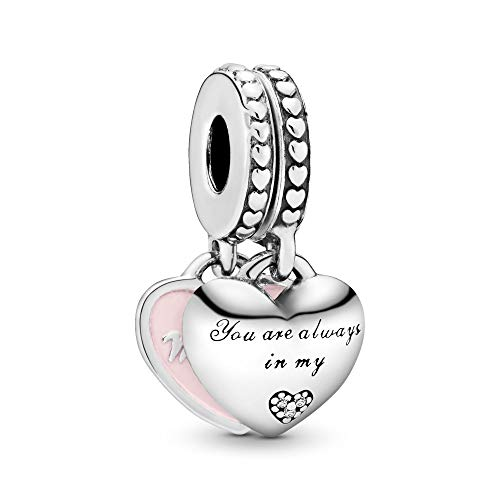 Pandora Jewelry - Mother and Daughter Hearts Dangle Charm in Sterling Silver with Soft Pink Enamel and Pink Cubic Zirconia