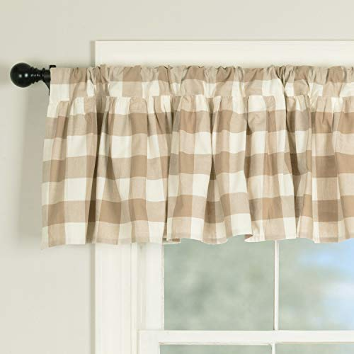 "Piper Classics Rebecca Ruffled Valance Curtain, 72"" W x 16"" L, Taupe and Cream Buffalo Check, Vintage Farmhouse or Country Cottage Window Treatment"