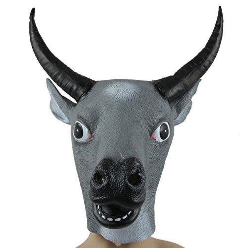Halloween Party Show Prop Bar Latex Decoration Ox-head Mask Masquerade Buffalo Grey