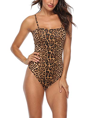 Queen.M Women's Sexy Bodysuit Leopard Spaghetti Strap Cami Leotard Top Sleeveless Bodycon Jumpsuit Onesie Romper (Leopard Brown, XS) (Leopard Women Onesie)