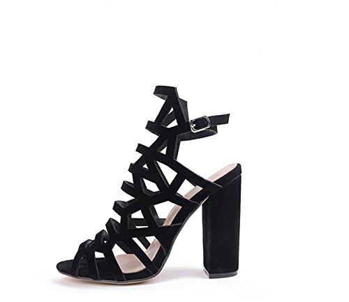 KHSKX-8.5Cm Schwarze Schuhe Frau Sommer Groben Sandalen Hohle Dünne Wort Schnalle Schuhe High Heels Alle Mit Fisch Im Mund Schuhe Thirty-five