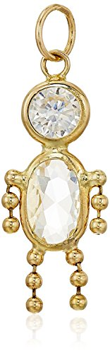 White Gold Birthstone Charm (10K Gold AAA Cubic Zirconia Simulated Birthstone Babies Boy Charm, April)