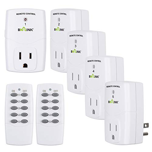 BN-LINK Mini Wireless Remote Control Outlet Switch Power Plug In for Household Appliances, Wireless Remote Light Switch, LED Light Bulbs, White (2 Remotes + 5 Outlets) 1200W/10A