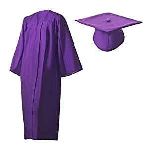 Amazon.com: Matte Purple Graduation Cap and Gown Set in Multiple ...