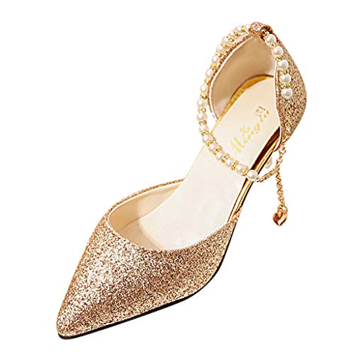 Cenglings Women's Sexy Pointed Toe Shoes Slip On Shallow Shoes Buckle Stiletto Heel Heel Sandals Women Ankle Strap Pumps Gold