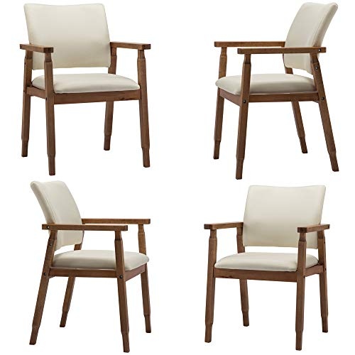 (Dining Chairs,White Chairs for Household、Kitchen, Wood Arm and Legs Chairs,Beige Color Living Room Chairs for Decor Furniture. (Size : Set of)