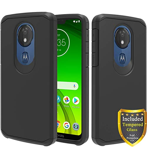 Motorola Moto G7 Power Case, Moto G7 Supra Case, Moto G7 Optimo Maxx Case, with Full Cover Tempered Glass Screen Protector, ATUS - Hybrid Dual Layer Protective TPU Case (Black/Black)