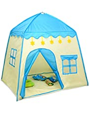 """Rxakudedo Play Tents for Kids Indoor Playhouse Tent Soft Oxford Fabric Big Play House with 3 Mess Windows & Storage Carrying Bag, Indoor Outdoor Great Toy Gift for Children Boys & Girls,51.18"""" L×39.37"""" W×51.18"""" H,Blue"""