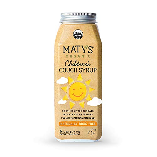 Matys Organic Children's Cough Syrup, 6 Fluid Ounce, Soothes Throats & Calms Dry Coughs with Organic Honey and Immune Boosting Ingredients, Helps Ease Common Cold Symptoms Childrens Formula Cough Syrup