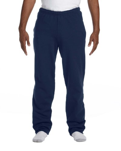Fruit of the Loom 8 oz 50/50 Adult Open Bottom Sweatpants, J-Navy, Large -