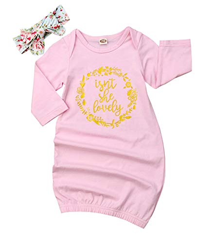 Newborn Baby Girl Love at First Sigth Floral Nightgowns Headband Sleepwear Sleeping Bag (Pink#2 Isnt She Lovely, 18-24 Months)
