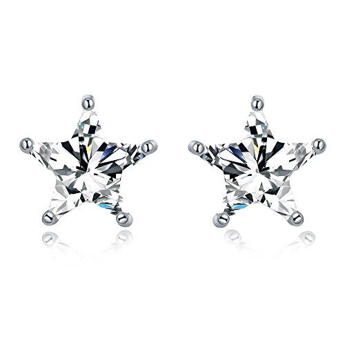 - AoedeJ Sparkling Star Earrings 925 Sterling Silver Earrings Cubic Zirconia Clear Crystal Eternity Stud Earrings