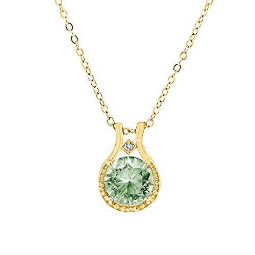 Green Amethyst Diamond Pendant (3.00 CTW Genuine Diamond and Green Amethyst Halo Pendant in 14k Yellow Gold over Sterling Silver, 18'')