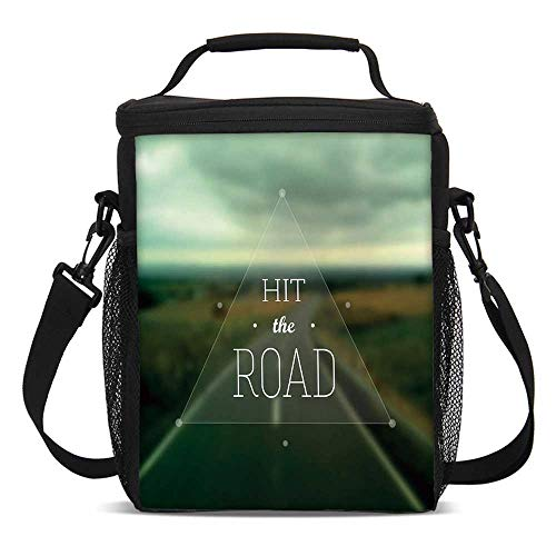 Highway Triangle (Adventure Fashionable Lunch Bag,Hit the Road Quote inside a Transparent Triangle with Blurred Highway Background for Travel Picnic,One size)