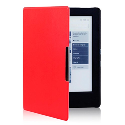 her Cover,for KOBO AURA H2O eReader,Sunfei Magnetic Auto Sleep Leather Cover HD Screen Protective Film+Touch Pen (Red) (Aura Leather)