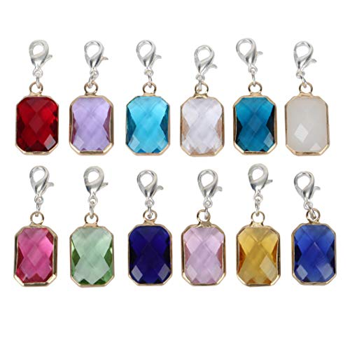 2pcs Clip On December Birthstone Charms with Lobster Clasp Austrian Crystal Beads for Jewelry Craft Making CCP11-12-L