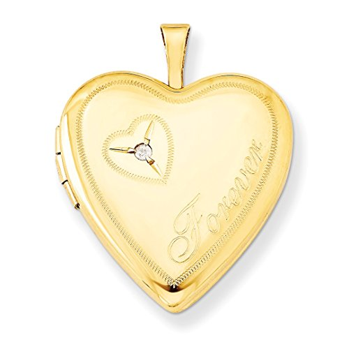 1/20 Gold Filled 20mm Diamond In Heart Forever Photo Pendant Charm Locket Chain Necklace That Holds Pictures W/chain Fashion Jewelry For Women Gift Set