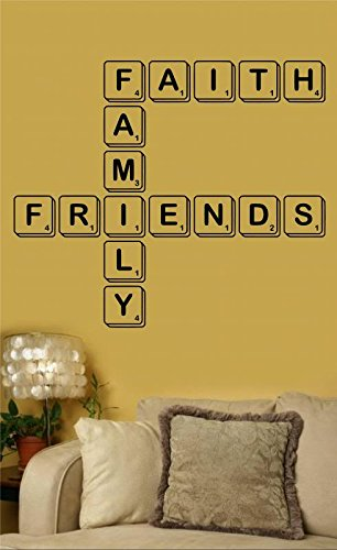 Enchantingly Elegant Faith Family Friends Scrabble Vinyl Wall Art Decal  Word Sticker Home Decor Gift