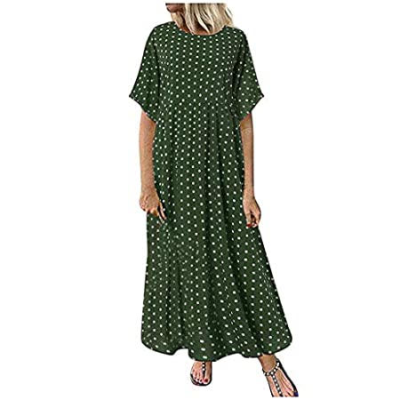 fasloyu Plus Size Fashion Women O-Neck Short Sleeve Dot Peinted Casual Dress Green 41hr30BpqLL