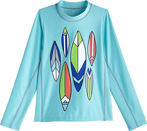 Coolibar UPF 50+ Kids' Long Sleeve Surf Shirt - Sun Protective (Large- Ice Blue Pipeline Surfboards)