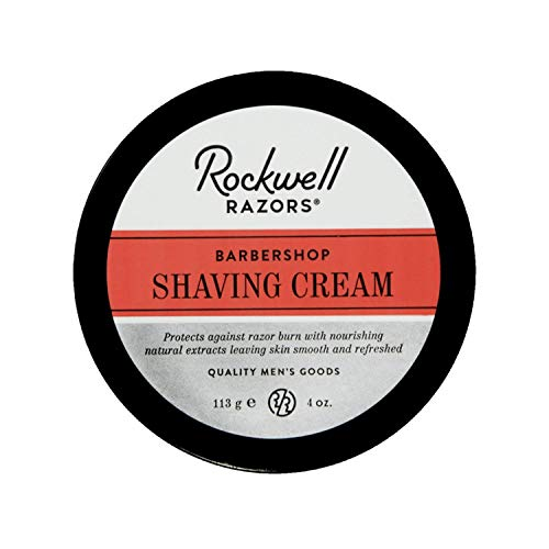 Rockwell Shave Cream for Men - Barbershop Scent - Rich & Thick Lather for All Skin and Stubble Types with Coconut Oil and Aloe to Hydrate and Protect Skin - 4oz