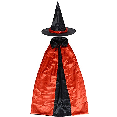 90's Party Costumes (Womens Halloween Witch Cloak Party Costume Cape Coat Shawl for Children Kids (35.4''/90cm, Red/Black))