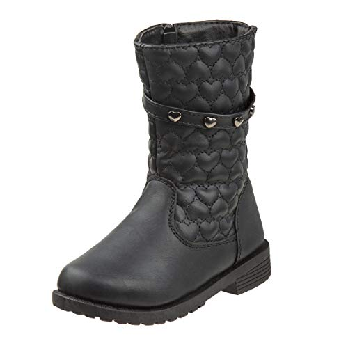Rugged Bear Girls Mid Length Studded Boots, Black Heart, 7 M US Toddler'