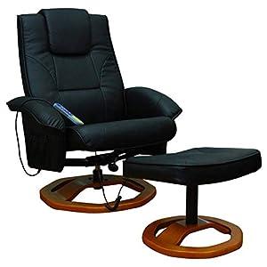Ausla Fauteuil massant, avec repose-pieds, fauteuil relax en simili cuir, inclinable, massage, fonction de chauffage, 5…