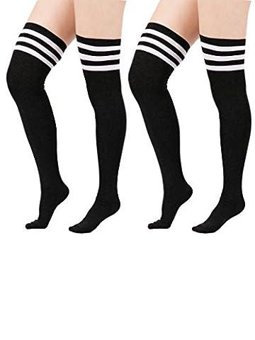 Zando Women Cotton Triple Stripes Tube Over Knee High Thigh Stocking Socks A 2 Pairs Black w White