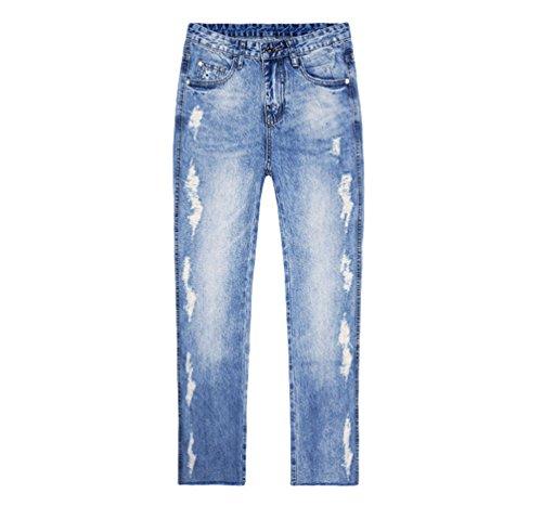 Denim Pantaloni Casuali Alla Signore Party Caldi Dexinx Allentati Estivi Strappati Jeans Ritagliata Moda Blu1 Pzaw45xq