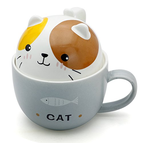 Teagas Cute Funny Ceramic Cat Kitty Coffee Mug, Gift for Friend Children Cat Lovers