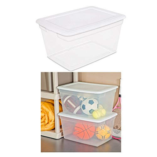 Sterilite 58 Quart See Through Plastic Storage Box with Lid, White, (White) (Case of 32) by Sterilite Box