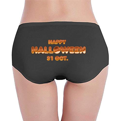 SHUIZHIQING Super Soft Stretchy Happy Halloween Text Briefs, Hipster Fun Print Women's Underwear