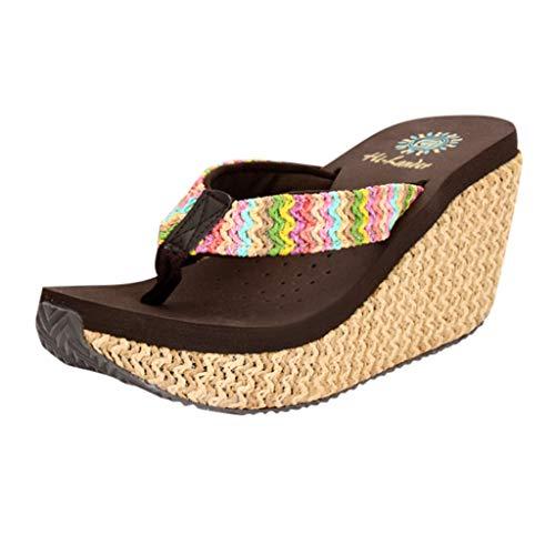 SUNyongsh Women's Mules Fashion High Heel Slipper Slip-Proof Platform Wedges Beach Mite Slope Slippers EVA ()