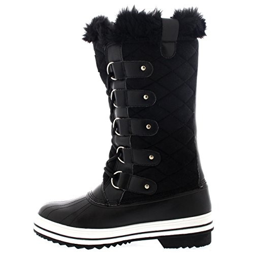 Polar Womens Nylon Tall Winter Snow Boot Black Suede 3N7D3s2yY