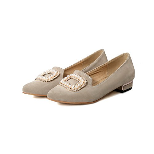 AllhqFashion Damen Ziehen auf Niedriger Absatz Nubukleder Rein Spitz Zehe Pumps Schuhe Cremefarben