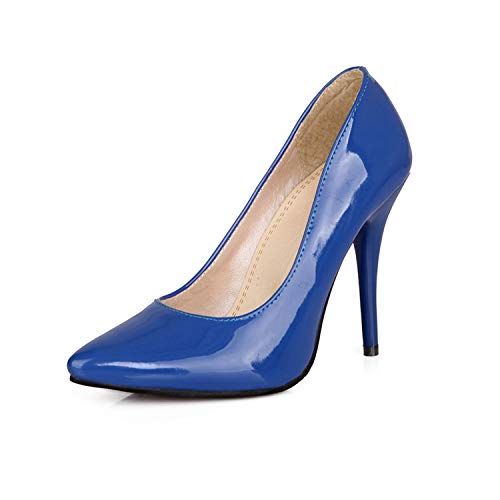 pleasantlyday Plus Size 30-48 Pu Leather Women Pumps Sexy Pointed Toe Shallow Shoes High Heels,Blue,8