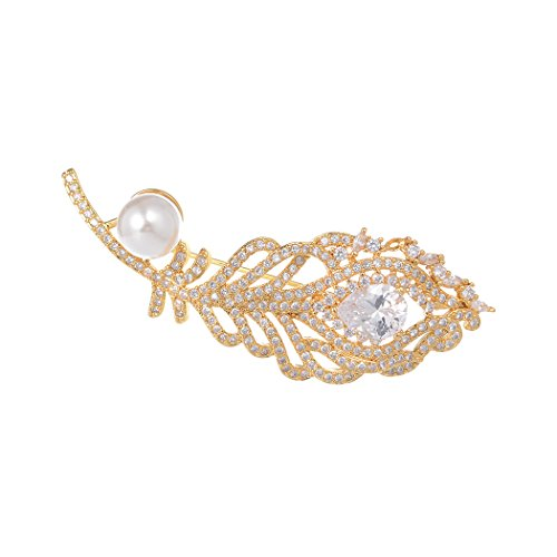 Romantic Time Feather Rhinestone Gold Brooch Lapel Pin Shell Pearl Brooches Pins