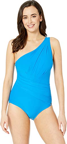 Michael Michael Kors Women's Urban Gypsy One Shoulder Shirred Surplus One-Piece Tile Blue 12