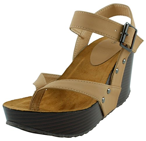 en's Studded Ankle Strappy Buckle Thong Platform Wedge Sandal (9 B(M) US, Beige) (Thong Platform Shoes)